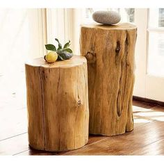 we had a local wood crafter make us stools and side tables just like these ! love them in our Log Home :)