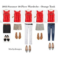 Summer Wardrobe - Orange Tank by bluehydrangea, via Polyvore