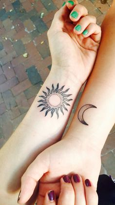 Best friend tattoos. #suntattoo #moontattoo #friendtattoos