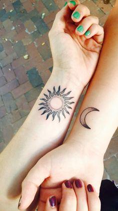 Best friend tattoos. #suntattoo #moontattoo #friendtattoos
