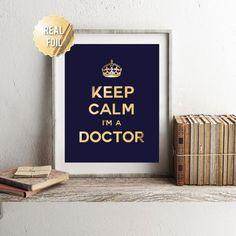 Regalo médico oro hoja regalo del imprimir - regalo de graduación de la escuela de medicina - Doctor - doctorado regalo de graduación de doctorado - Persnalized Custom colores