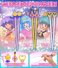 Magical girl chopsticks, featuring the wands of anime characters Creamy Mami, Persia, and Magical Emi - $13.20 each