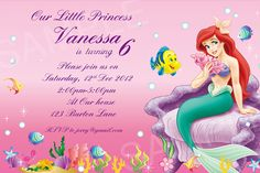 Ariel Invitation Printable Disney By SimplyLoveDesign2012 On Etsy Free Birthday Templates Princess Invitations