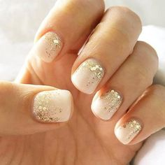 Nail art is a very popular trend these days and every woman you meet seems to have beautiful nails. It used to be that women would just go get a manicure or pedicure to get their nails trimmed and shaped with just a few coats of plain nail polish. Bride Nails, Wedding Nails For Bride, Wedding Manicure, Beach Wedding Nails, Wedding Gold, Wedding Hair, Glitter Wedding Nails, Boho Wedding, Sparkle Wedding