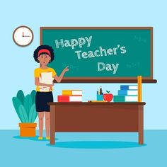Teachers Day Celebration, Teachers Day Greetings, Happy Teachers Day, World Teacher Day, World Teachers, Flat Design Illustration, Paper Illustration, Teachers' Day, Vector Free