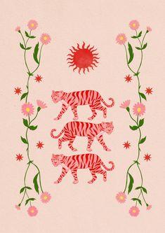 Sun Tigers Art Print by millie-ambr Wall Prints, Poster Prints, Art Print, Sun Illustration, Plakat Design, Tiger Art, Photo Wall Collage, Art Graphique, Graphic