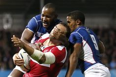 Georgia's Mamuka Gorgodze in action with Namibia's Tjuee Uanivi (L) and Eugene Jantjies during the Rugby World Cup in Exeter, October 7, 2015. Action Images via Reuters / Peter Cziborra Livepic