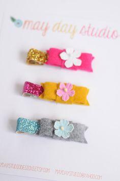toddler baby girls alligator hair clip set by maydaystudiodesigns