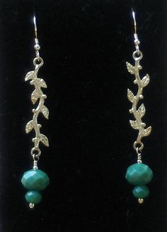 Brass Branches with Green Crystal by BellaMiJewelry on Etsy, $20.00