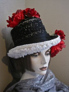 Mistress Rose: Goth Bride's Top Hat Red Roses by MorticiaSnow