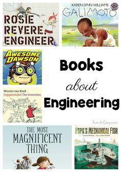 Children's engineering books for the block center