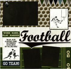 Premade Scrapbook Page - Football: Go Team. $16.95, via Etsy.