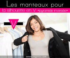 Manteaux pour morphologie et silhouette en V, pyramide inversée ou triangle inversé