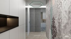 www.advdesign.pl 63m2_4 entrance hall room wood panels hexagon mint grey wallpaper double room