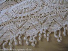 Vintage White 3D Crochet Barley Twist Fringe Bedspread Tablecloth 90x80 Museum   eBay