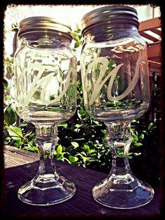"Redneck Wine Glass monogram ""W"""