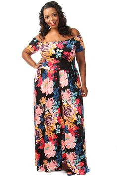 This stunning hybrid between a romper and maxi dress has a floral print body, off the shoulder top and high front slit. Soft, stretch material 95% Polyester 5% Spandex Model wearing 3X Made in USA