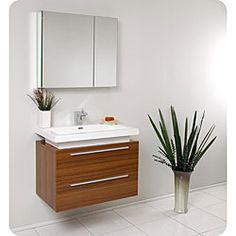 Fresca Medio Teak Bathroom Vanity with Medicine Cabinet