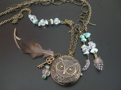 Owl Clock Feather Necklace with Feather Earrings by alissabg90, $30.00