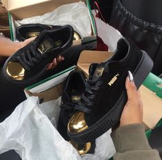 Sherlinanym | Fenty Puma Creepers in black and metallic gold