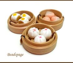 DOLLHOUSE MINIATURE DIM SUM SET  You will receive 3 assorted Dim Sum set (each comes with 3 items in a bamboo steamer - refer to 1st picture). Items