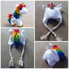Crochet Rainbow Unicorn Beanie