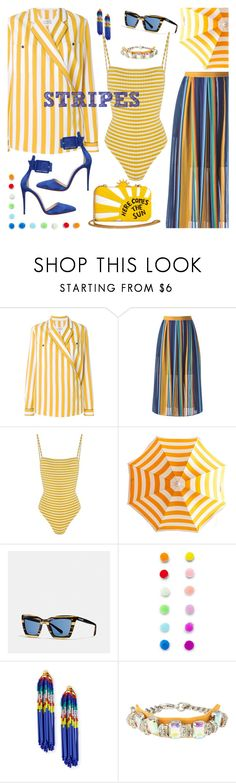"""""""Pattern Challenge: Stripes On Stripes"""" by j477 ❤ liked on Polyvore featuring Maison Margiela, Solid & Striped, Coach, Forever 21, Lele Sadoughi, ORTYS and Christian Louboutin"""