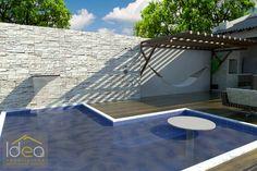 Para melhor aproveitamento do espaço, uma ideia é colar a piscina rente ao muro. Para este projeto colocamos a cascata no muro, possibilitando melhor utilização e estética para esta área de lazer. #ProjetoDeAutoriaDoEscritórioIDEAArquitetura# contato (66) 3405 2145 ou (66) 9 99986804