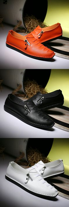 Urban Exotic Emo Man Casual Shoes Zipper Leather Shoes Good Quality Male Fit Spring Autumn Soft Leisure Zapato Hombres