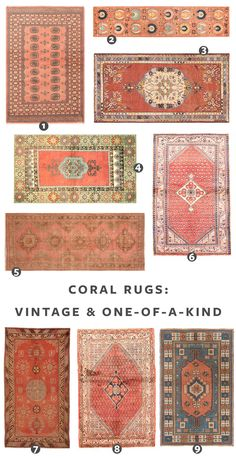 Looking for a Turkish Rug Just Like Ours? Check Out These Sources for the best vintage rugs and new vintage-inspired rugs in a coral color palette! - Vintage Rugs - Ideas of Vintage Rugs Room Rugs, Rugs In Living Room, Area Rugs, Dining Rooms, Coral Rug, Coral Color, Patchwork Rugs, Bedroom Vintage, My New Room
