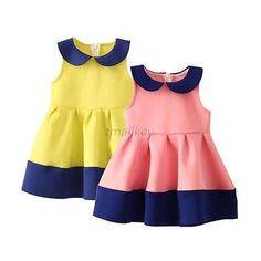 Thick Baby Girl Lapel Tunic Dress Toddler Kid Child Princess Party Pleated Skirt