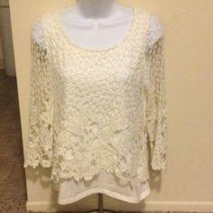 White Crochet Top 3/4 crocheted sleeves Draper's & Damon's Tops