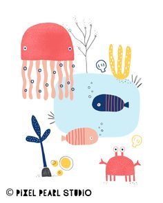 Under the Sea Illustration Bring the ocean indoors with this hand-drawn illustration. Jellyfish Drawing, Jellyfish Painting, Jellyfish Tattoo, Jellyfish Quotes, Jellyfish Facts, Jellyfish Tank, Jellyfish Light, Pink Jellyfish, Watercolor Jellyfish