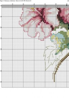 Cross stitch butterfly and chart. butterfly with pink flowers 2 2/5