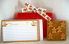 Gingerbread Recipe Cards, tacks, and holder, via Etsy. Have Some Fun, Gingerbread Man, Recipe Cards, All Things Christmas, Favorite Holiday, Xmas, Gift Wrapping, Invitations, Esty