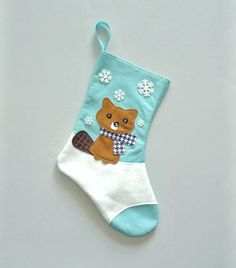 Hey, I found this really awesome Etsy listing at https://www.etsy.com/listing/198886171/beaver-christmas-stocking-in-aqua-blue