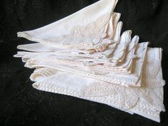 I want to check these out - beautiful! Madmen Midcentury Linen Napkins Crocheted Lace by AntiquesduJour, $24.99