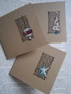 handmade Christmas cards from Jo Firth-Young … clean and simple design …. kr… handmade Christmas cards from Jo Firth-Young … clean and simple design …. kraft … square with rectangle stamped … die cut Christmas ikon … by isabel Homemade Christmas Cards, Christmas Cards To Make, Homemade Cards, Christmas Diy, Christmas Vacation, Christmas Card Designs, Diy Holiday Cards, Minimal Christmas, Christmas Island