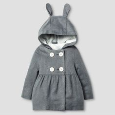 Baby Girls' Peacoat with Bunny Ears Baby Cat & Jack™ - Grey 12M : Target