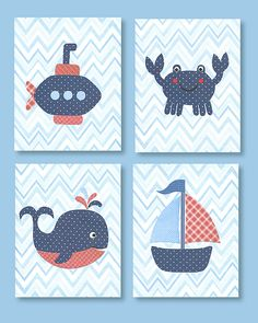 Blue and Red Nursery Art Navy and Red par SweetPeaNurseryArt, $54.00
