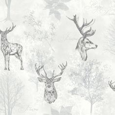 East Urban Home The Etched Stag x Wallpaper Roll is featured all over this easy-living wallpaper design that will bring a sense of cosiness to any room. This subtle stag wallpaper makes a statement whether it is hung in one wall, or on four! Stag Wallpaper, Tier Wallpaper, Kitchen Wallpaper, Print Wallpaper, Animal Wallpaper, Wallpaper Roll, Wallpaper Ideas, Stag Animal, Shabby Chic Grey