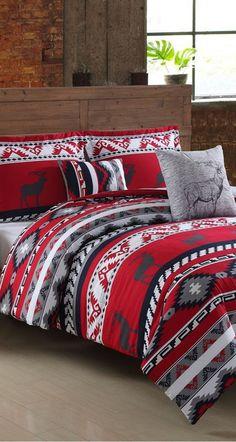 A cozy bed set that boasts rustic appeal | Ruff Hewn Ski Lodge Comforter Set