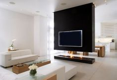 18 elegant family room design and decorating photos: Black And White Family Room Is Equipped With A Tv And Modern Fireplace Ideas ~ olpos.com Living Room Inspiration