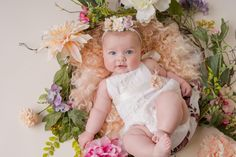 Milestone Session Outfits Photography by Katie Corinne Photography I have a whole wardrobe full of milestone session outfits for my clients so parents have one less thing to stress about and can enjoy their baby's session. 6 Month Olds, 1 Year Olds, Little Man, Little Babies, 6 Month Old Baby, Fluffy Rug, Spring Theme, Floral Theme, Floral Headbands
