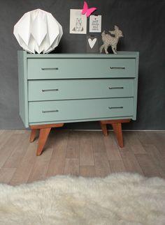oval room blue 85 F&B commode vintage années 50 60 bleue tiroirs biais TRENDY LITTLE 1