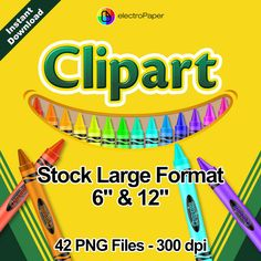 CRAYOLA - Clipart - Stock Large Format 6 and 12 inches - 42 png files for Cardmaking, Scrapbooking, Party Decorations and More by ElectroPaper on Etsy