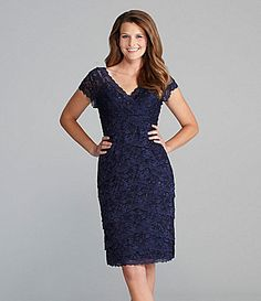 Marina Tiered Beaded Lace Dress - navy cocktail dress