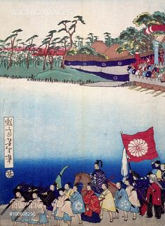 Ukiyo-e with historical scene (sewamono): epic and procession of young noblemen, 19th century, detail of a woodcut from the Kabuki Theatre series. Japanese civilization, Edo period (1603-1868).
