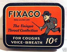 Vintage 1939 Fixaco Medicine Tin / Old Store Stock