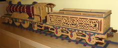 Victorian locomotive with freight car, scroll saw fretwork pattern